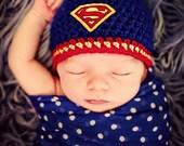 Newborn Photo Prop Baby Boy Superman Hat