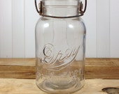 Antique Drey Canning Jar Improved Ever Seal Clear Quart Patented 1920