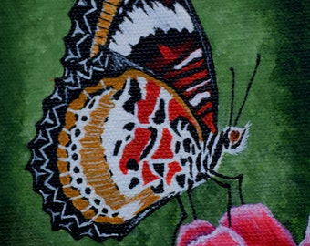 Butterfly Painting - Lacewing Butterfly - nature, original acrylic canvas painting, butterfly painting, red rose