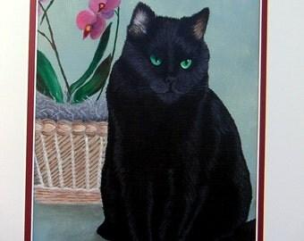 Custom Cat Painting - custom cat portrait, pet portrait. family pet painting, original art, cat art