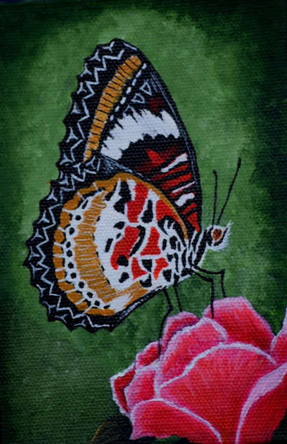 Items similar to Butterfly Painting - Lacewing Butterfly ...