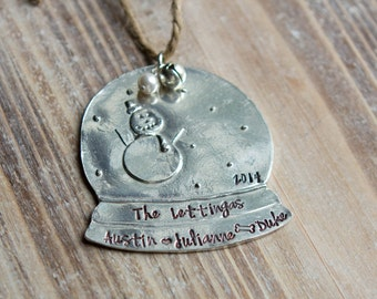 Personalized Christmas Ornament - Handstamped Custom Pewter Snow Globe Ornament - Family - First Christmas - New Home - Christmas Gift
