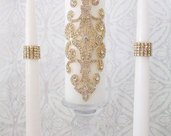 Wedding Unity Candle Set | Memorial Candle | Gold Rhinestone Embellished | White or Ivory | Silver or Gold