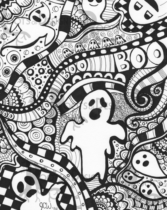 INSTANT DOWNLOAD Coloring Page Ghost Art Print zentangle
