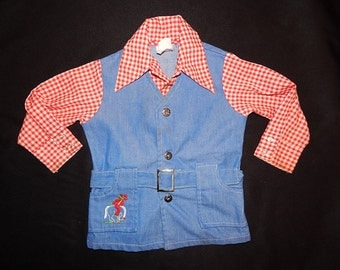Cute Vintage 60's red white plaid checkered embroidered cowboy horse rockabilly country western boy child shirt blue denim jean vest jacket