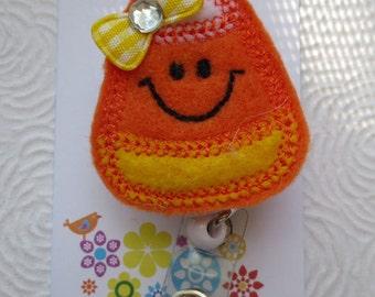 Candy Corn  Badge Reel - Retractable Badge Reel -