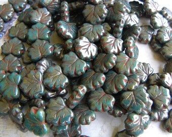 Maple Leaves, Opaque Persian Green with Picasso, Czech Glass, Full Strand, Beautiful!