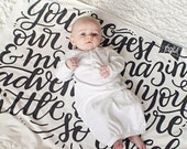 Baby Swaddle - You are our greatest adventure - Organic cotton knit