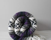 vintage purple woven striped mexican fringe blanket / throw / area rug / twin size bed