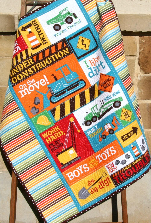 Last One Construction Vehicle Quilt Baby Boy Blanket Backhoe