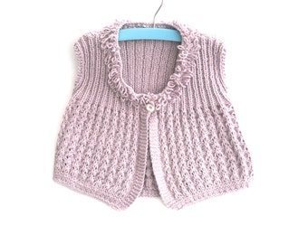 Girls hand knit cotton lace waistcoat / cardigan , half price , clearance sale