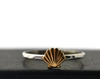 14K Gold Seashell Ring, Dainty Shell Ring, Gold and Silver Ring, Shell Jewelry