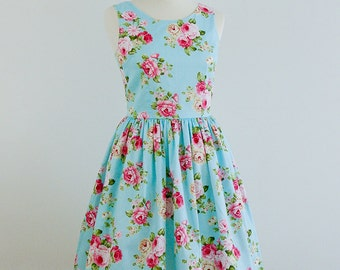Custom made bridesmaid dress, blue dress, cotton dress, floral vintage inspired dress, Vintage Roses Dress