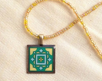 Green & Yellow Original Tile Design, Spanish and Mediterranean Mexican Inspired Beaded Necklace
