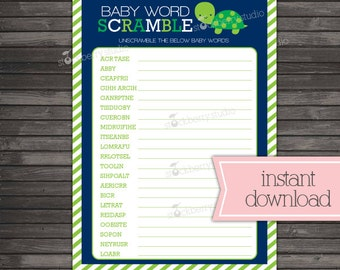 Turtle Baby Shower Word Scramble Game - Instant Download - Boy Baby Shower Games Printable - Navy Blue and Green Baby Shower Activities