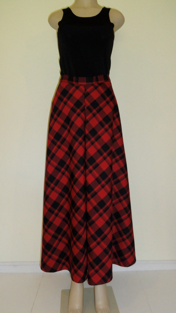 tartan plaid maxi skirt with box pleat front and self