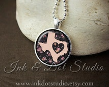 Floral Texas State Necklace, Texas Love Pendant, Pink Texas State Pendant, Texas Gift, TX State