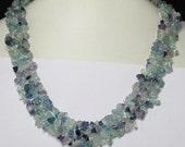 Necklace 17 inch IN Fluorite chips Gemstone Beads