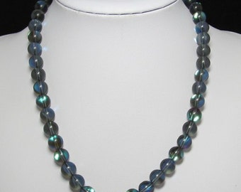 nice Necklace 50cm IN Synthetic Moonstone 10mm and 925 Silver
