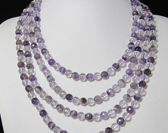 nice Necklace 17 inch IN 4 rows Amethyst White rock crystal Quartz