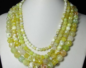 Necklace 17 inch IN 4 rows Yellow Fire Agate faceted Beads