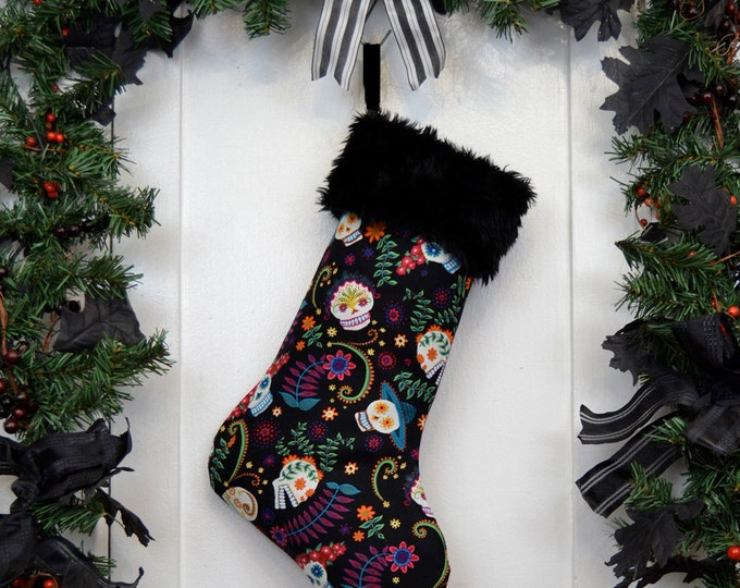 Day of the Dead Sugar Skulls Halloween Christmas Stocking Black Faux Fur