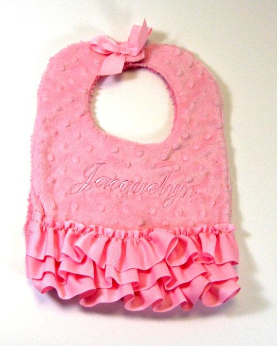 Minky Bib in Pink for Baby Girls