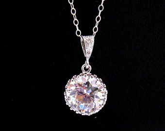 Cubic Zirconia Necklace: CZ Solitaire Necklace, Sterling Silver, Cubic Zirconia Bridal Necklace, CZ Wedding Jewelry, Gift for Her 4-90