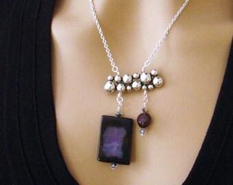 Purple Amethyst Necklace, Purple Necklace Natural Amethyst Necklace, Stone Dark Purple Necklace, Asymmetric Amethyst Necklace, Plum Necklace