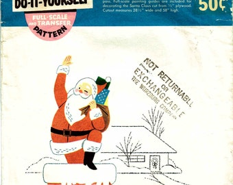 Vintage 1950s Santa Claus Lawn Art Pattern Unused McCalls 152W Mid Century