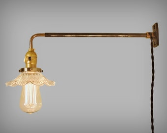 Vintage Industrial Wall Mount Light - PETITE RUFFLE SHADE - Machine Age Trouble Lamp Sconce, Milk Glass