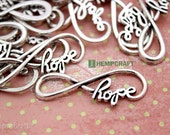 Hope Infinity Connectors, 15pc Silver Infinity Bracelet or Necklace Connector, 39mm
