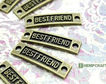 Bracelet Connectors, SALE, 8pc Best Friend Word Connectors, 35mm