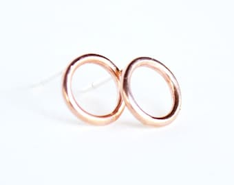 Rose gold stud earrings - gold circle studs - pink gold earrings - O earrings - halo stud earrings - gift under 25