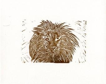King of the Cats, Lion, Original Linoleum Block Print