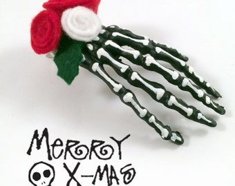 Jack Skeleton, Gothic Christmas, Gothic Lolita, Nightmare Before Christmas, Skull Hair Clip, Christmas Skeleton