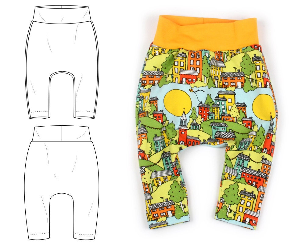 Harem pants pdf sewing pattern digital download photo for Harem pants template