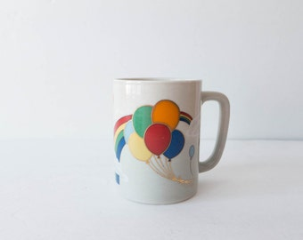 Otagiri Rainbow Mug Coffee Cup Balloons 1970s Gay Pride  Happy Groovy Funky