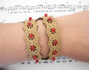 Leather wrap bracelet, Wrap bracelet, Gift for best friend, Leather cuff, Gift for her, Stylish jewelry, Flower leather bracelet, Xmas gift.