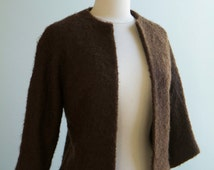 1950's Brown Boucle Mohair Cardigan Jacket