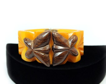 Butterscotch Bakelite Clamper Bracelet, Wood Decoration, Deeply Carved