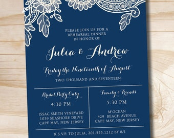 Floral Lace Rehearsal Dinner, Couples Shower, Engagement Party Invitation - Printable digital file or printed invitations
