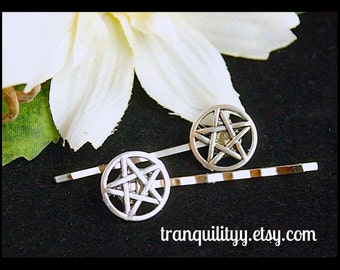 Pentacle Hair Clips, Bobby Pin Set of 2, Handmade By: Tranquilityy