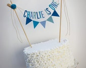 Personalized Cake Banner, Personalized Cake Topper, Birthday Cake Garland, Birthday Cake Topper:  Blue Hues