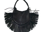 Leather Fringe Bag BLACK FRANGIA Hobo bag Dark Fashion Handstitched bag Goatskin purse Goth Bag shoulder bag black leather fringe bag SALE