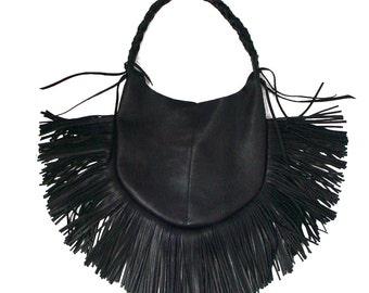 Leather Fringe Bag BLACK FRANGIA Hobo bag Dark Fashion Handstitched bag Goatskin purse Goth Bag shoulder bag black leather fringe bag SALE