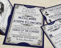 NEW! The Gatsby Ball Ticket Wedding Invitations, Great Gatsby themed wedding invitation set, Gatsby Wedding Invites