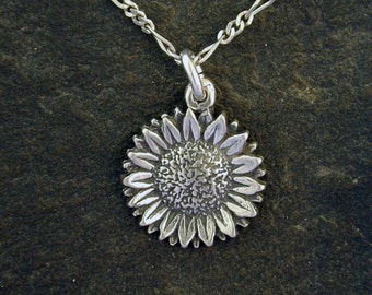 Sterling Silver Sunflower Pendant on a Sterling Silver Chain