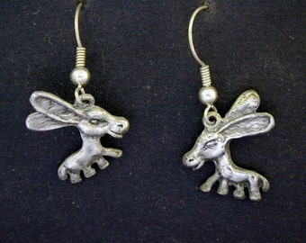 Sterling Silver Donkey Earrings on Sterling Silver French Wires