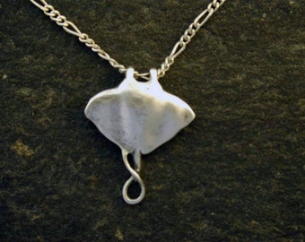 Sterling Silver Manta Ray Pendant on a Sterling Silver Chain